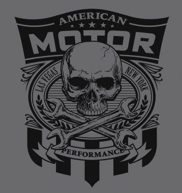 Motor skull shield t-shirt graphic
