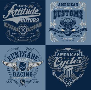 Vintage motorsport emblem t-shirt graphic set