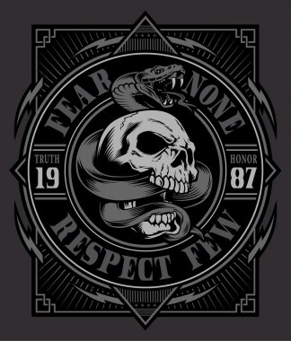 Snake skull graphic t-shirt design