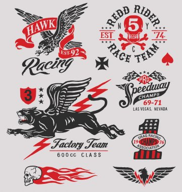 Vintage motor racing insignia graphics