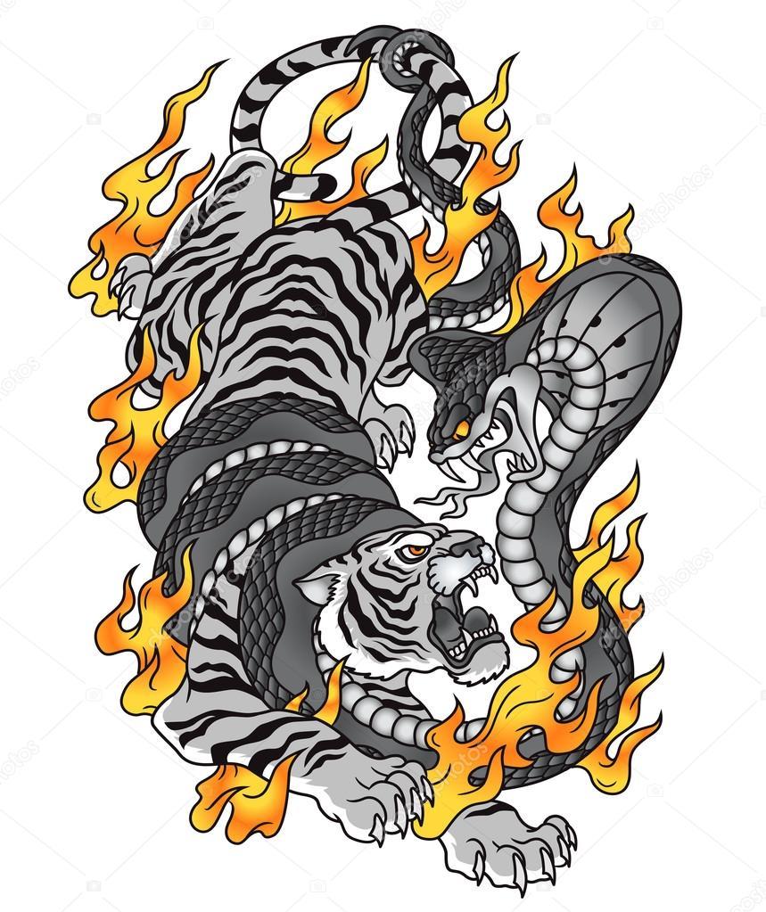 Tygrys Kobra Ogień Tatuaż Grafiki Grafika Wektorowa