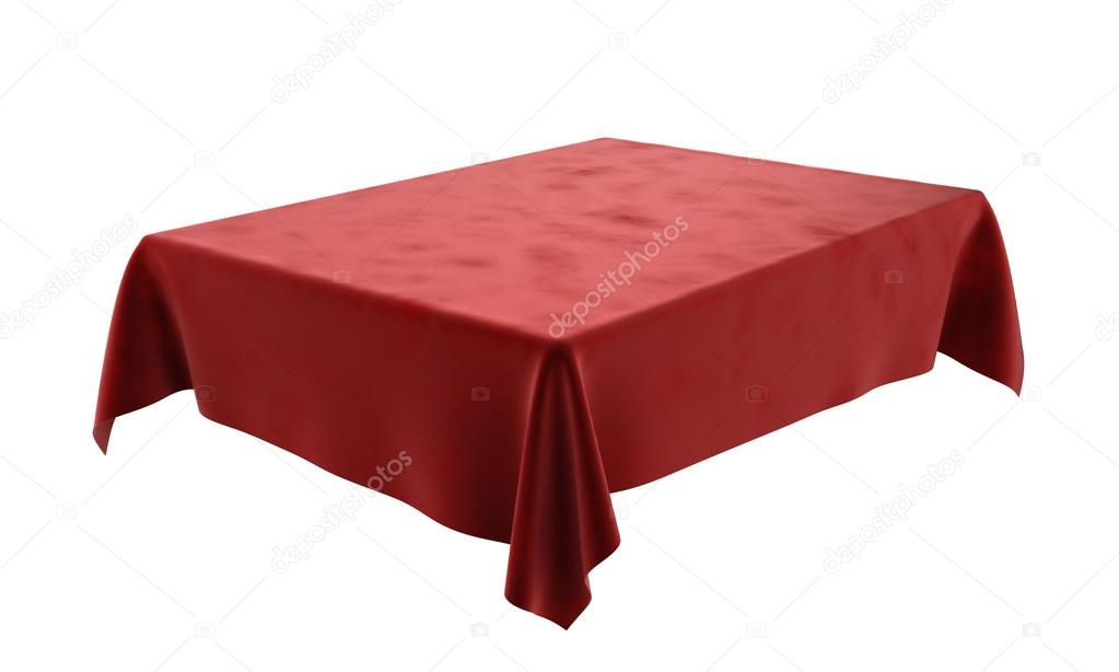nappe rectangulaire de velours rouge pour la table isol e sur blanc photographie nosorogua. Black Bedroom Furniture Sets. Home Design Ideas