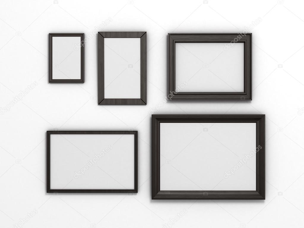 conjunto de Marcos negros de diferentes tamaños sobre un fondo ...