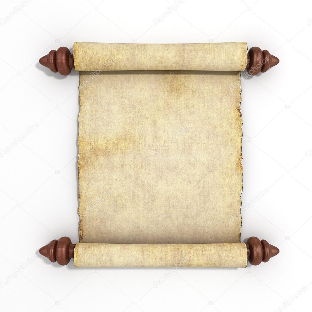 antiguo rollo de papiro aislado sobre fondo blanco de procesamiento ...