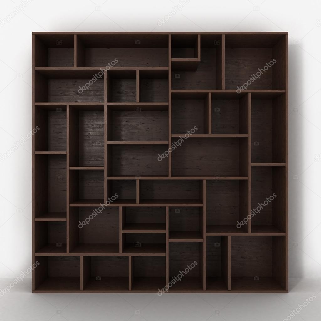 Nykomna Mörk bokhylla med hyllor isolerade på vit bakgrund RU-11