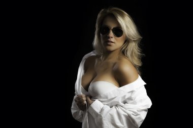 Blonde Latina Aviator Glasses White Dress Shirt