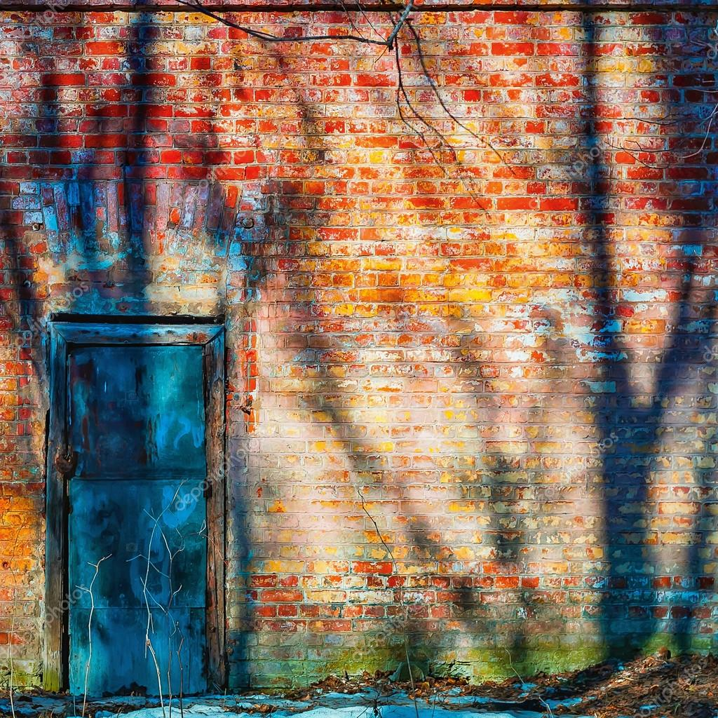 Locked door in an old brick wall
