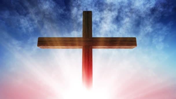Kalvárie kříž Krista a slunce obloha
