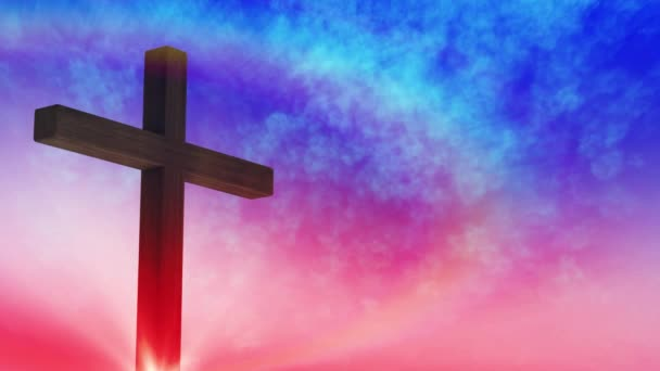 Calvary cross of Christ and sun rising sky background