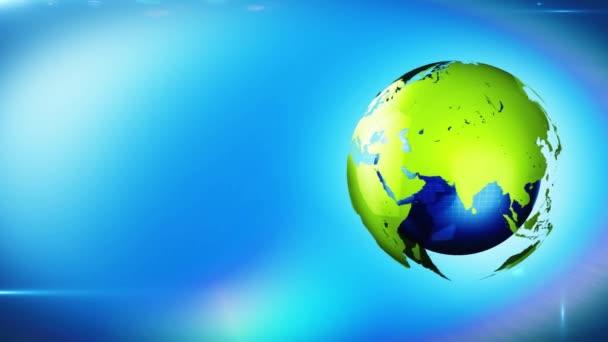 Földgömb megfordul hurok, spinning világképének a világ zöld energia