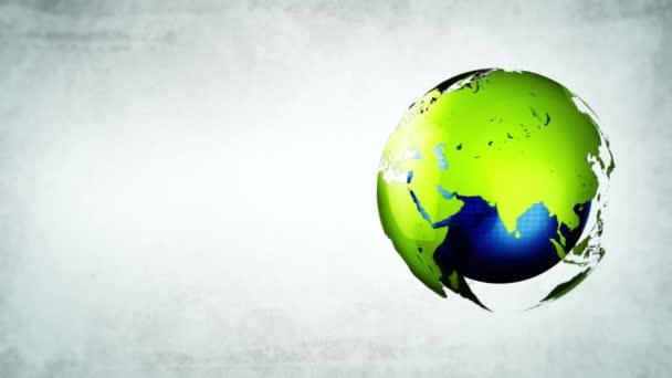 Földgömb megfordul hurok, spinning világképének a világ zöld energia fény