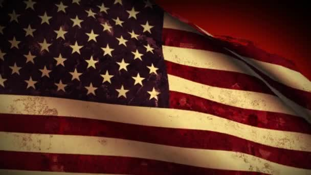 USA Flag Waving, old, grunge look sunset, background