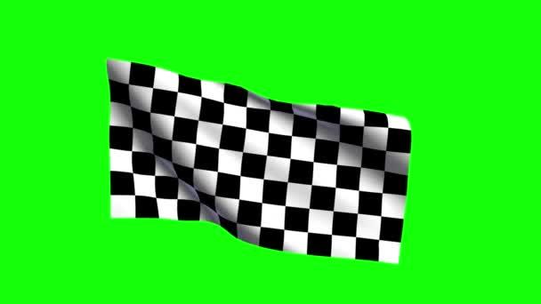 Rennwagen karierte Flagge schwenkend, grüne Leinwand
