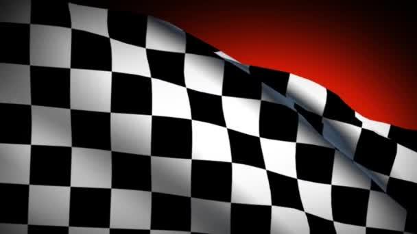 Finish checkered racing car flag waving, sunset