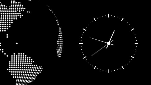 Clock counting down 12 hours over 30 seconds. Time lapse. Background globe.Black White