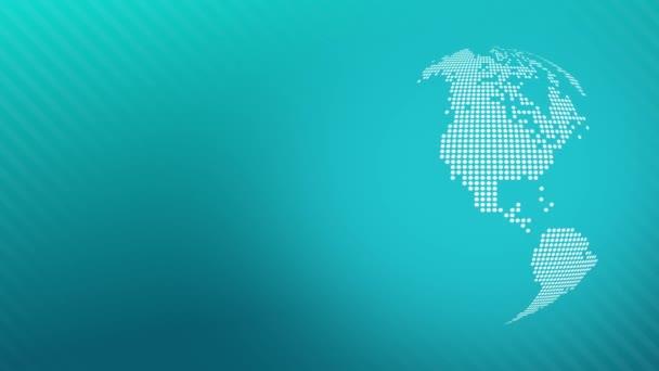 Animovaná zeměkoule s tečkovaným world map na modrém pozadí pravé smyčky
