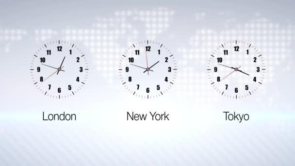 Obchodní hodiny odpočítávání do 12 hodin více než 30 sekund. Burze cenných papírů. Tři časové pásmo pozadí