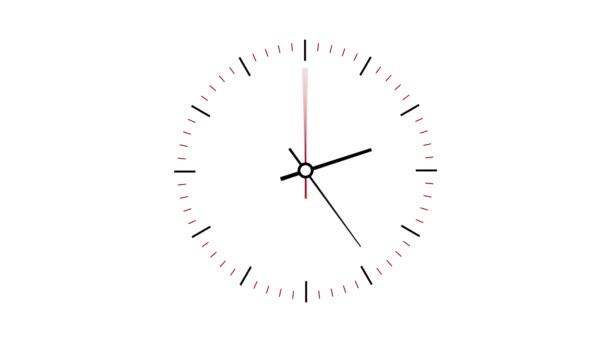 Hodiny, které počítají se 12 hodin více než 30 sekund. Časová prodleva. Bílé pozadí