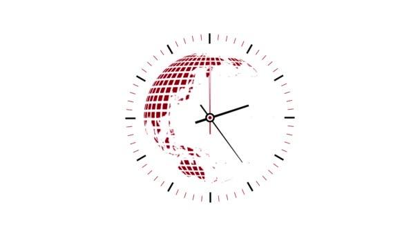 Hodiny, které počítají se 12 hodin více než 30 sekund. Časová prodleva. Glóbus uvnitř