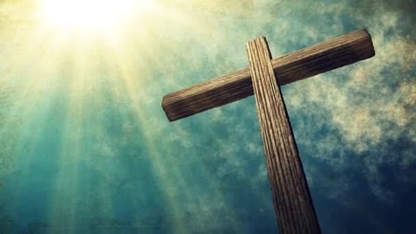 Kálvária-kereszt, Krisztus és a kék ég. Évjárat, grunge, háttér. Húsvét