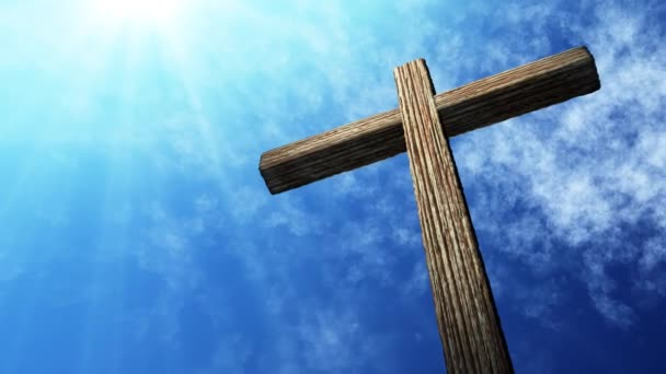 Calvary cross of christ and blue sky. Easter background