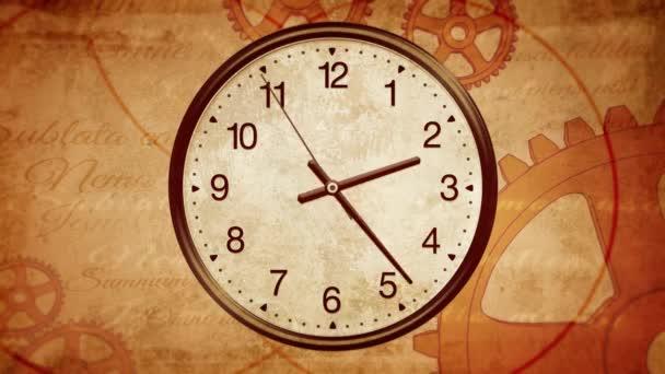Staré hodiny pozadí. Předávání času na staré hodiny. Zpět do historie