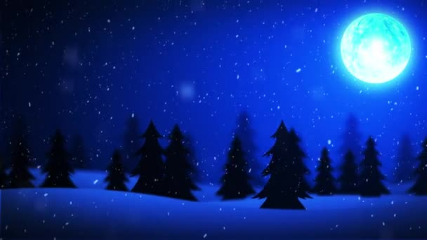 Fondo di buon Natale Capodanno neve e luna