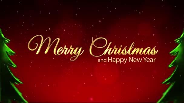 Boldog Karácsonyt és új évet piros csillogó háttér xmas tree