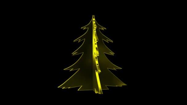 Zlaté vánoční strom. Předem s klíčem alfa kanál strom. Veselé Vánoce a šťastný nový rok