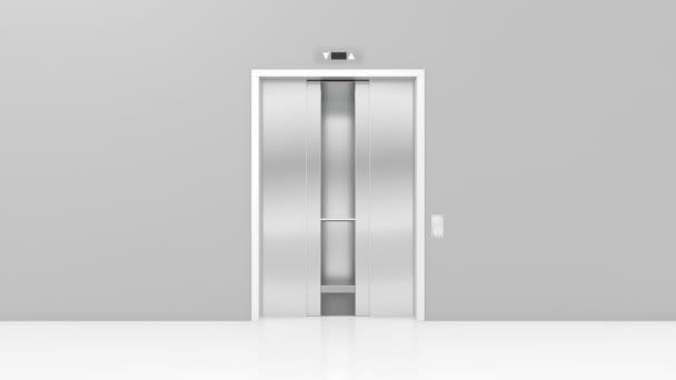 Otevření dveří v moderním výtahem. 3D animace