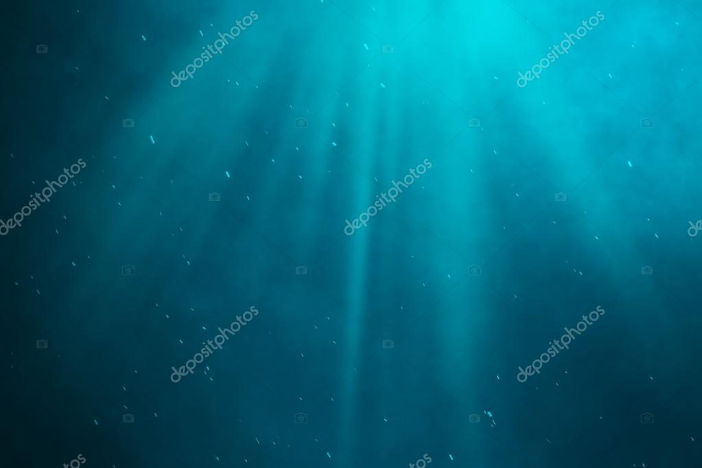 Underwater sea, ocean with light rays. 3d illustration