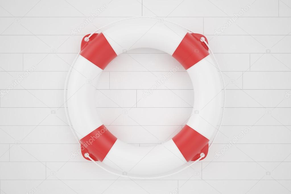lifebuoy lying on a wooden surface