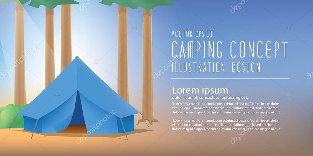 Blue camp tent the among nature of trees and forests vector bann