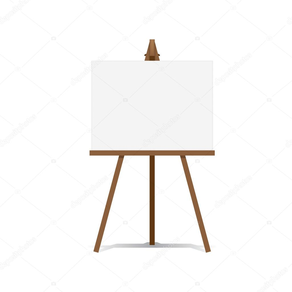 Art Easel And Blank Canvas Space Ready For Your Advertising And