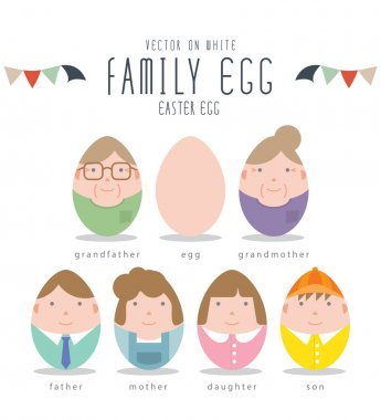 Cute Family Characters Of Easter Eggs.