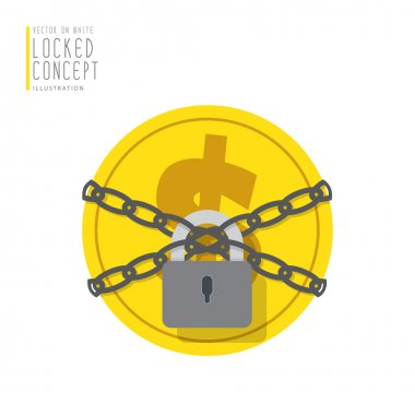 Coin money are bound with chains and locked with a padlock flat