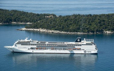 Dubrovnik Croatia a cruise ship at anchor off the island Lokrum