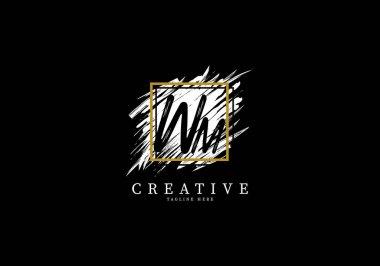 Initial Letter WM Splash Grange Logo Design, Texture Brush with a square grid.