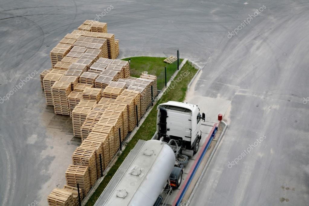 wooden crates and truck