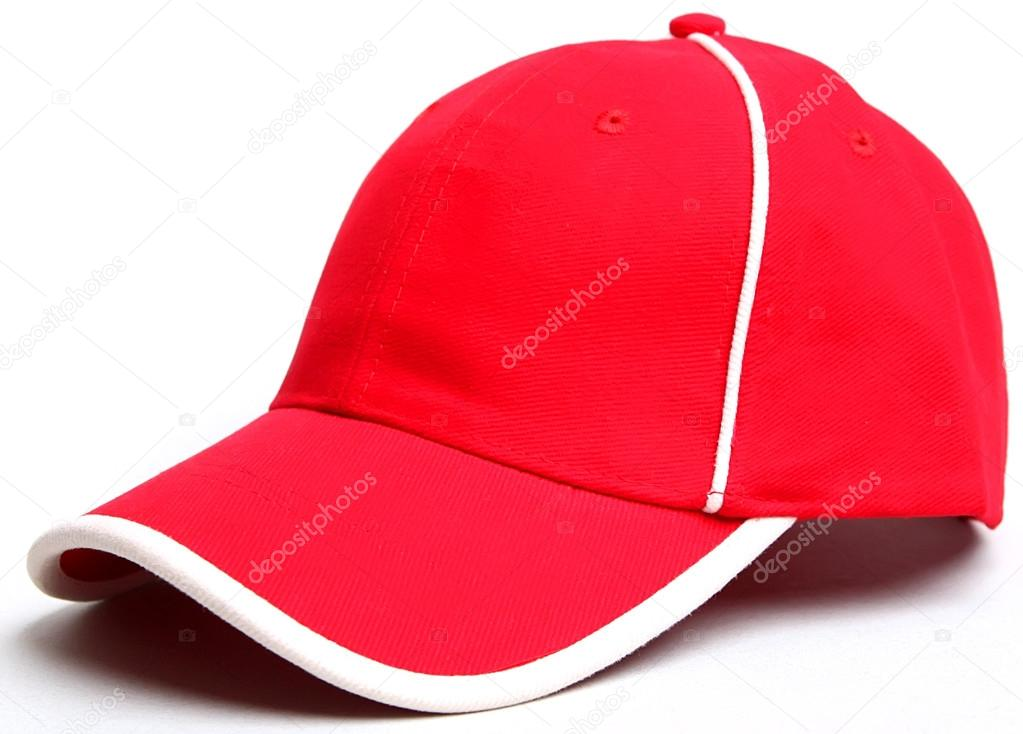 80f02980f6b Berretto da baseball rosso su un cappellino bianco backgroundisolated–  immagine stock