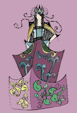 Sketch fantasy costume queen