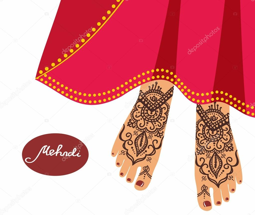 Legs With Mehendi Patterns Vector Illustration For A Yoga