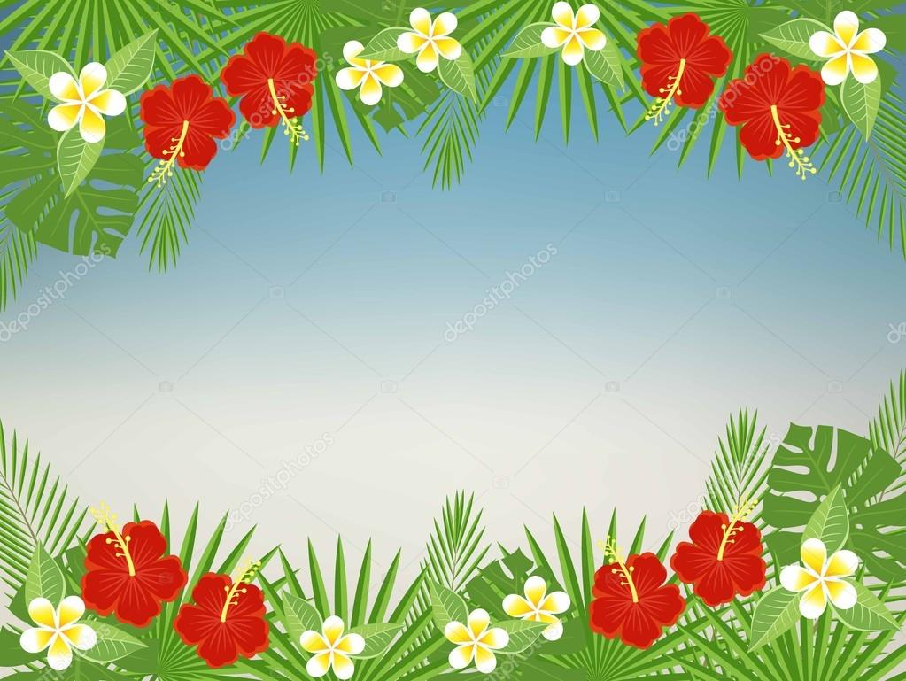 Floral background with space for text. Tropical flowers and leaves - hibiscus, palm tree, Monstera, plumeria. Template for postcards, flyers, brochures.vector abstract blurred background