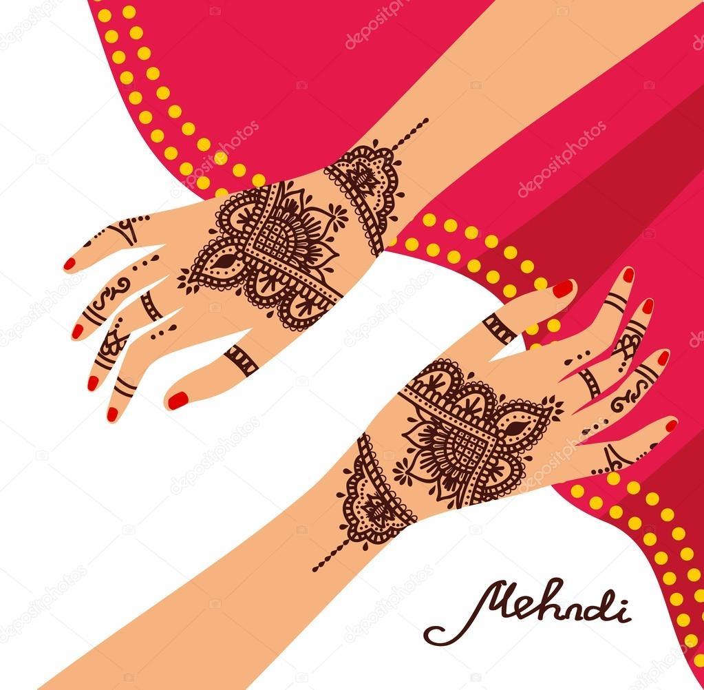 element yoga mudra hands with mehendi patterns vector illustration rh depositphotos com Henna Design Cards Adult Coloring Vector