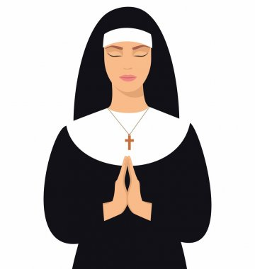 illustration of a young nun with eyes closed and hands folded in prayer. Young nun in prayer position. Vector illustration of woman praying