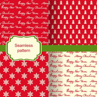 set of seamless backgrounds with Christmas pattern