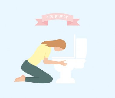Woman Experiencing Morning Sickness. signs of pregnancy symptoms.
