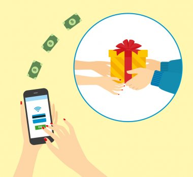 vector illustration of a modern smartphone with the processing of mobile payments with a credit card on the screen. Buying gifts with your smartphone