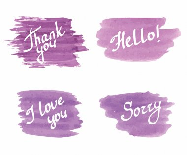 vector watercolor brush strokes with inscriptions - hello, thank you, sorry, I love you