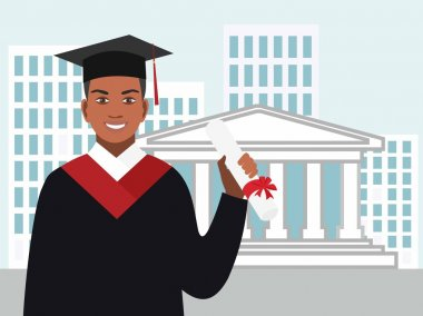 Boy afro-american graduates in the mantle against the background of the University with a diploma in hand Vector illustration in flat design.